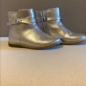 Toddler girls silver ankle boots
